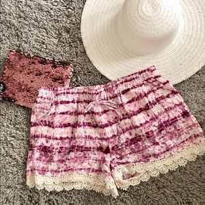 Lace Trim Pull-on Shorts